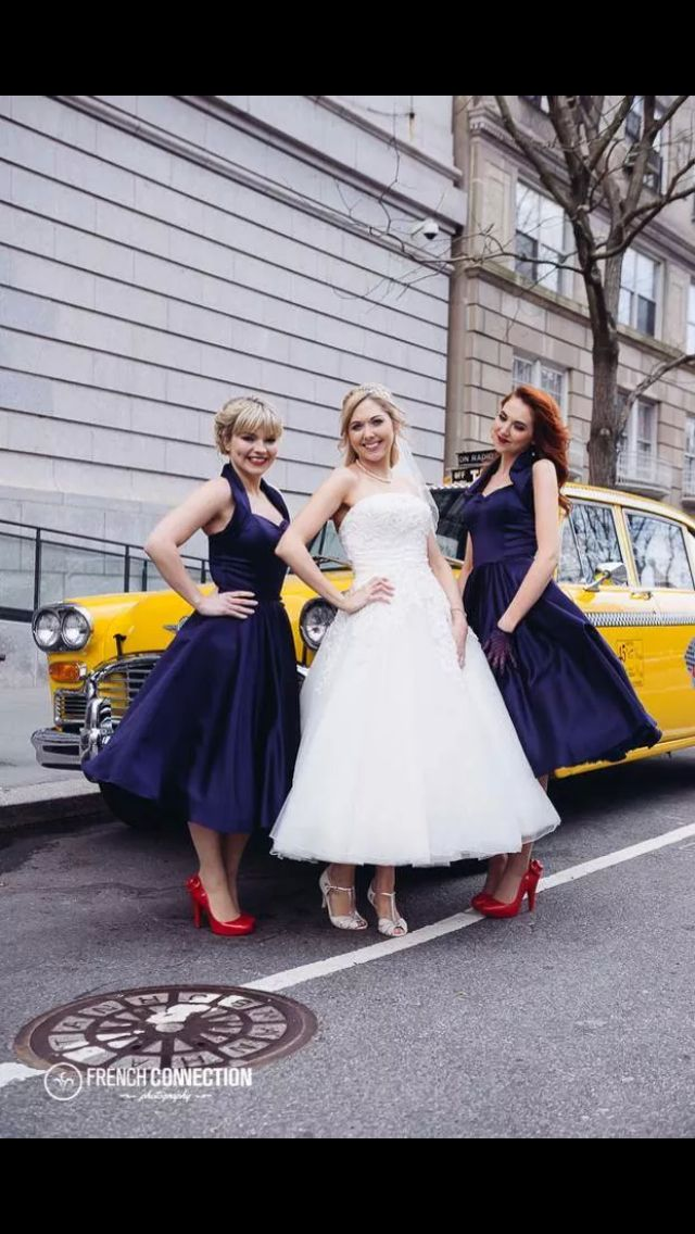 bridesmaids; blue and red