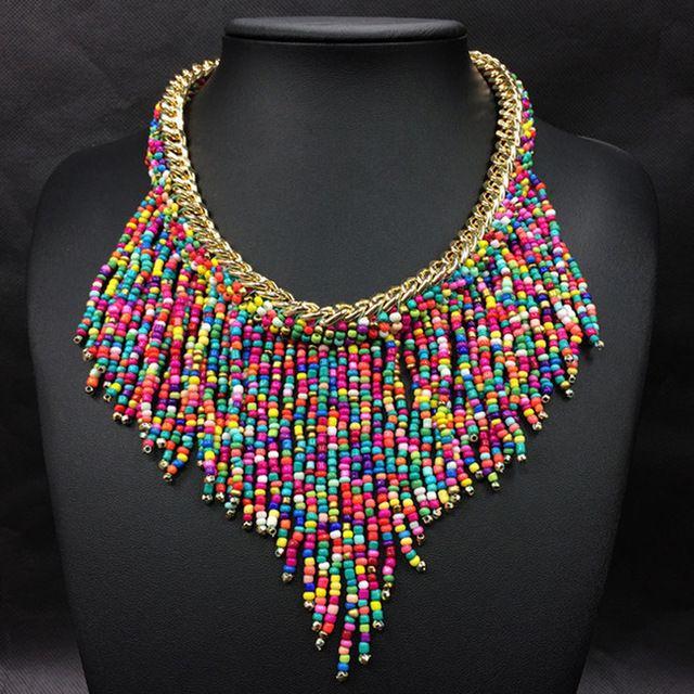 2016 Mode Bijoux Mujer New Bohemian Colliers Femmes À La Main Tissés À La Main Collier Long Gland Perles Foulard Déclaration Colliers