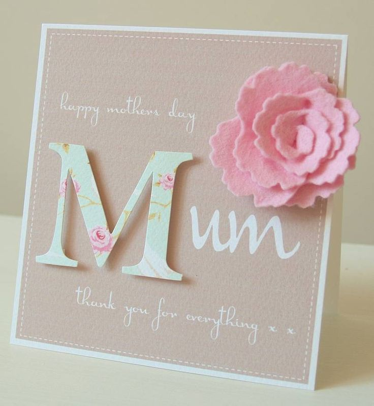 handmade personalised felt flower mother's day card