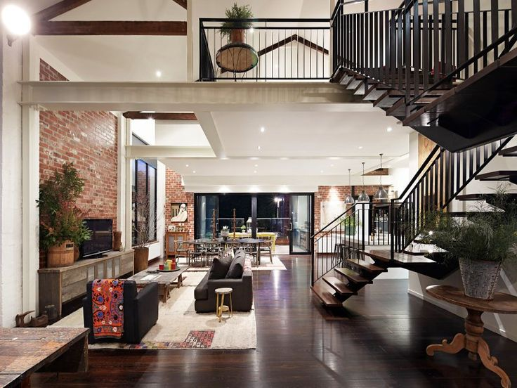 This fabulous warehouse conversion once listed for sale, showcases charming architectural details in Hawthorn East, a suburb of Melbourne, Australia.