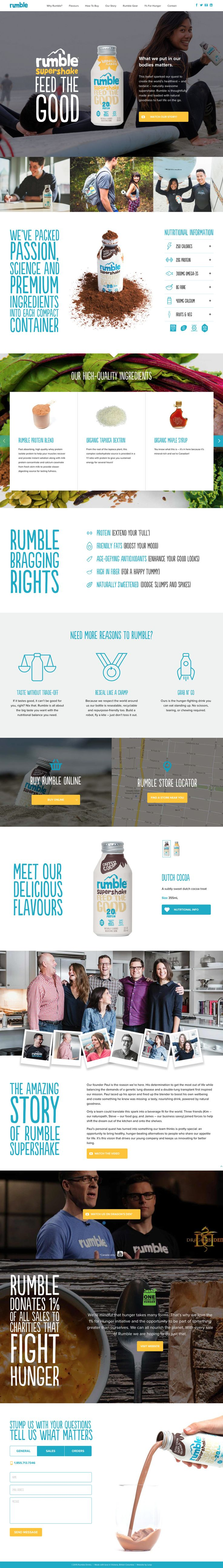 Unique web design. Rumble Supershake.