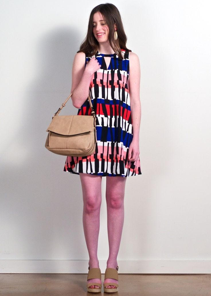 Jack by BB Dakota Pauline temple stripe shift dress; red, coral, & ivory geo print shift dress. Sleeveless dress featuring an a-line silhouette & triangle keyhole cut out at neck, classic shift dress, work to weekend dress, transitional Winter to Spring dress, must have on trend geo print shift dress