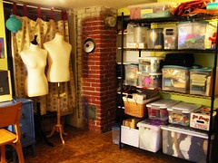 clear bins, tall shelves, sewing dummy