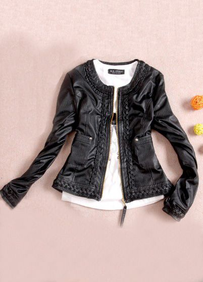 #SheInside Black Round Neck Long Sleeve Zipper PU Jacket