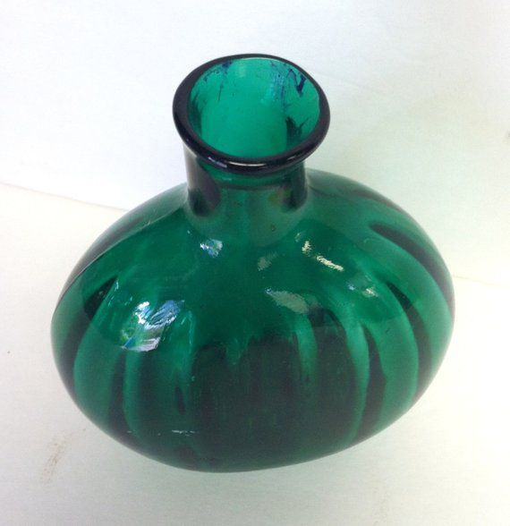 Items similar to Vintage Glass Bottle, Green Glass Bottle, Green Decanter, Apothecary Vase, Decorative Bottle, Collectable Bottle on Etsy