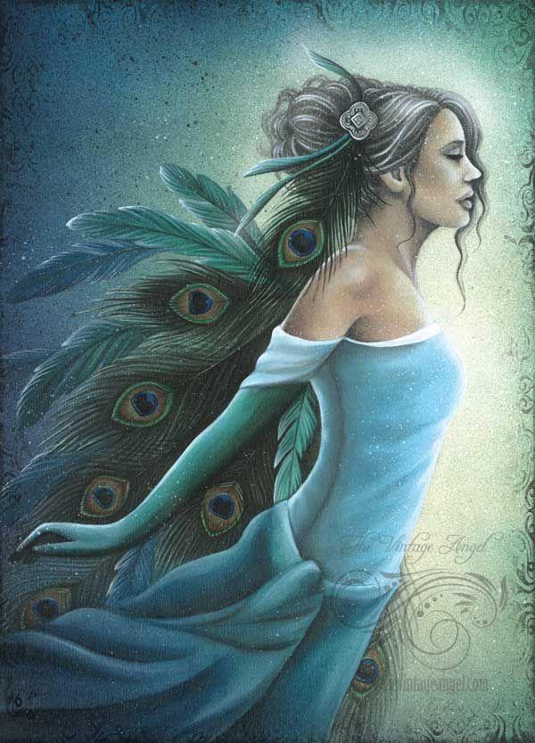 Peacock winged angel, fantasy angel art by Jessica Galbreth