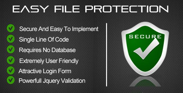 Easy File Protection - PHP . EASY FILE PROTECTION  provides you with a simple and quick way to secure your php file. It provides you with a login interface where you can provide your credentials and login to your secure page. This script also has the feature of logging out after a predefined timeout interval. So after the