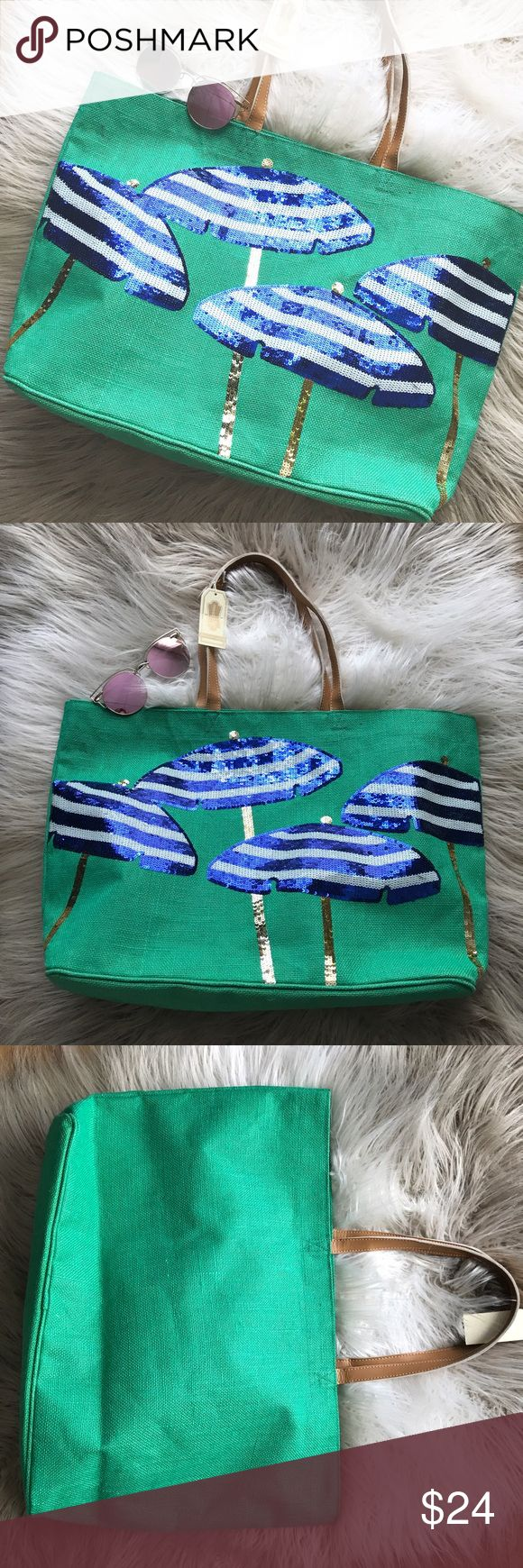 """NWT Mud Pie Sequin Umbrella Beach Tote Bag Super cute beach bag or just all around Tote Bag! Green jute material bag with blue and white Sequin umbrellas. New with tags, unused! Dimensions: 14 1/2"""" x 22"""" x 6 1/2"""". Spot clean only. This design is not available anymore! Mud Pie Bags Totes"""