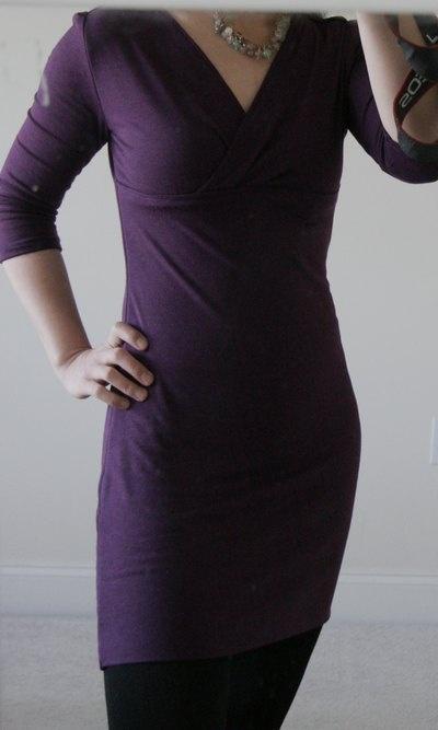 DIY 3/4 sleeves mock wrap dress