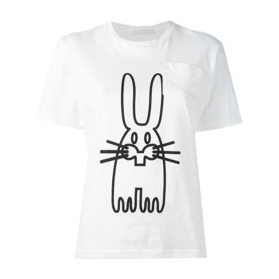 rabbit print T-shirt, Womens, Size: Large, White