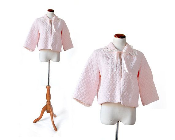 60s Pink Bed Jacket /  Quilted Bed Jacket / Small Bed Jacket /  Sleepwear Intimate Womens Clothing Lingerie
