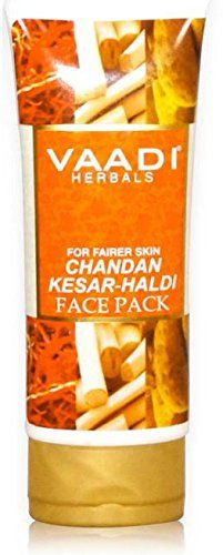 Chandan Kesar Haldi Fairness Face Pack - Herbal Face Pack - ALL Natural - Paraben Free - Sulfate Free - Suitable for Both Men and Women - Good for All Skin Types (Oily, Glowing, Dry, Normal, Combination, Sensitive) - 120gms (4.25 Ounces) - Vaadi Herbals - http://essential-organic.com/chandan-kesar-haldi-fairness-face-pack-herbal-face-pack-all-natural-paraben-free-sulfate-free-suitable-for-both-men-and-women-good-for-all-skin-types-oily-glowing-dry-normal-combinati/