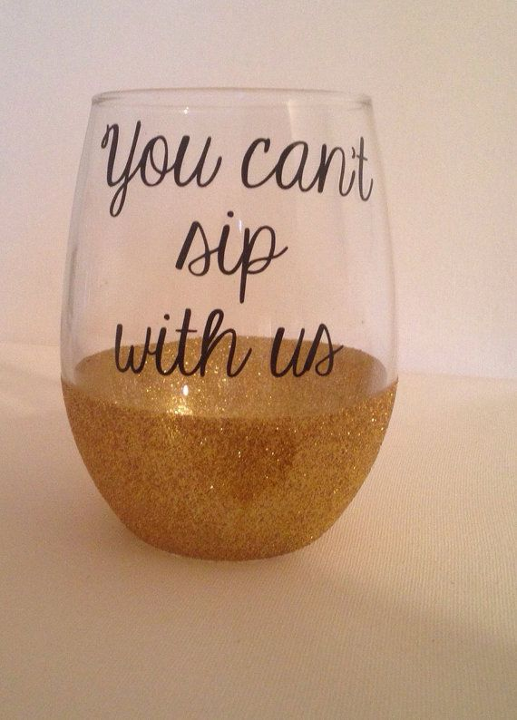 Stemless glitter dipped wine glass // mean by FarmhouseChicHanna