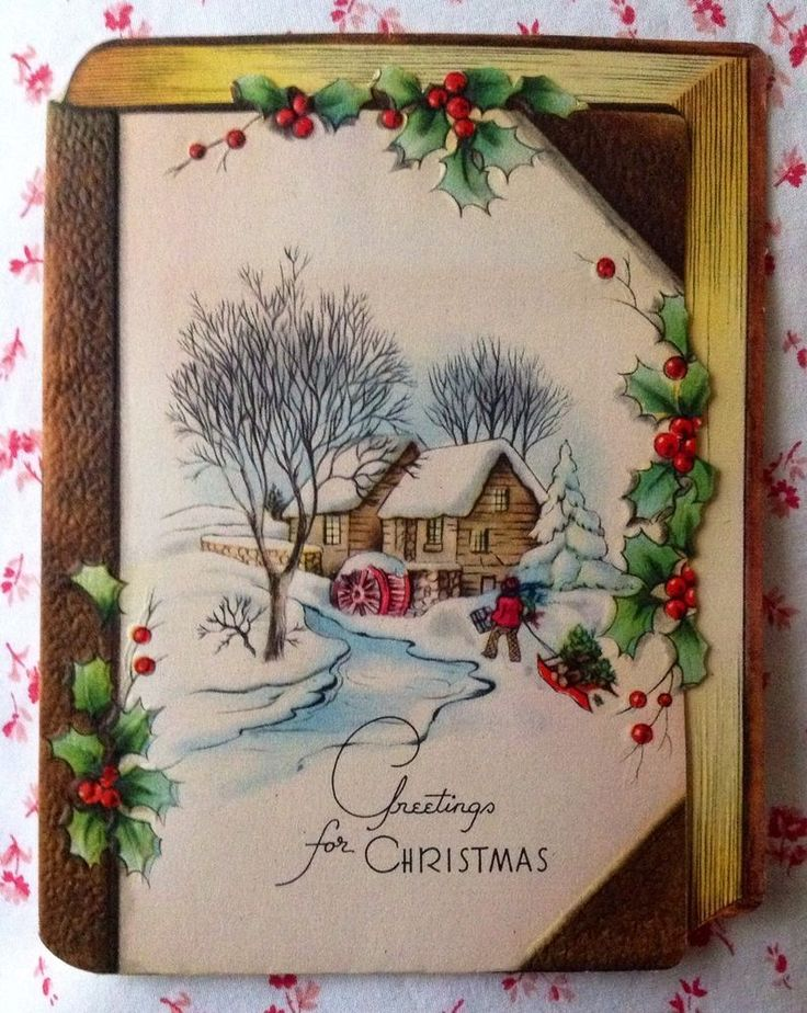 Vintage 1940s Christmas Card Old Mill in Snow, Holly, James Russell Lowell Poem