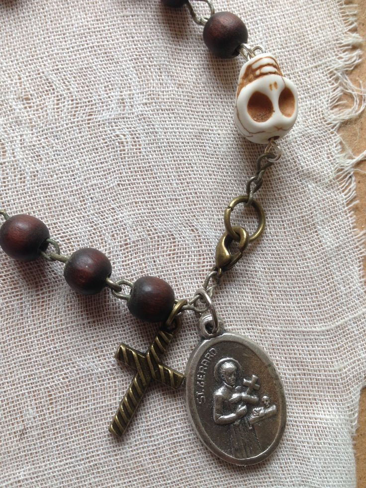 Papa Ghede/ St Gerard bracelet made from an old rosary