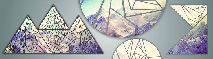 General 3840x1080 multiple display mountains shapes triangle circle poly snow CMYK