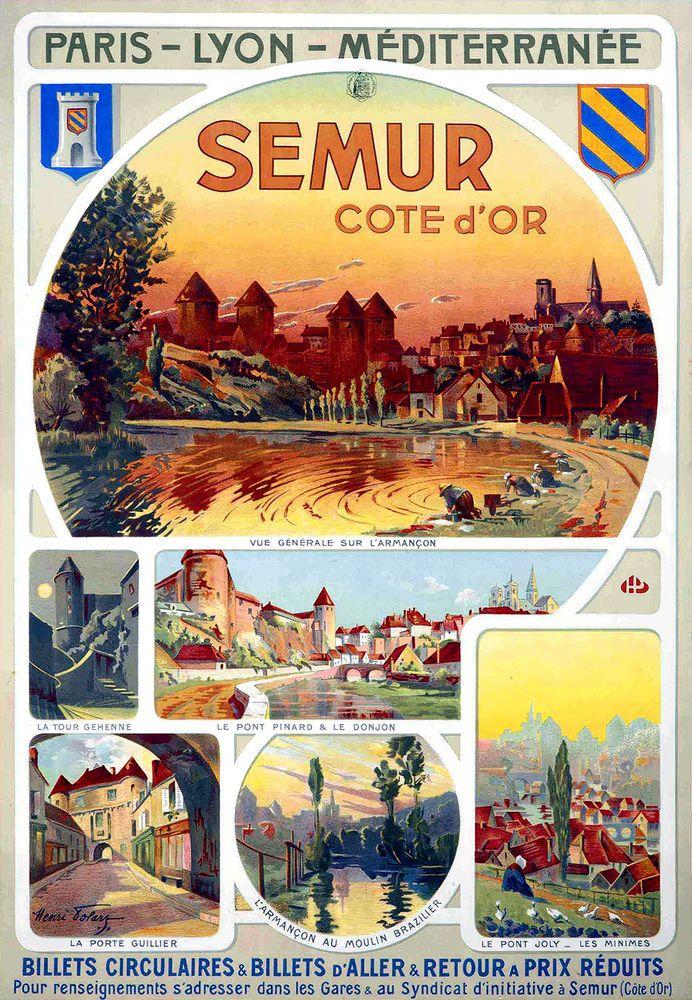 Vintage Railway Travel Poster - Semur - Côte d'Or - France - by Henri Polart - 1900.