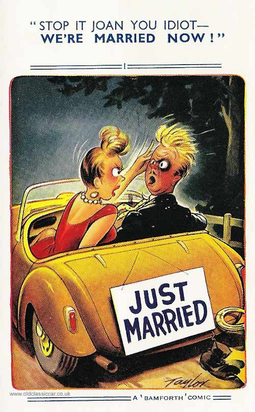 "Another Bamforth ""Comic"" postcard yet again showing a couple in a motorcar, this time on their own. En route from their wedding judging by the ""Just Married"" sign hanging on the back of this open car."