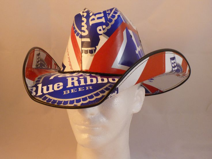 Beer Box Cowboy Hats. Made from recycled Pabst Blue Ribbon Beer boxes.  Beerhat. by BestBeerHats on Etsy https://www.etsy.com/listing/112299087/beer-box-cowboy-hats-made-from-recycled