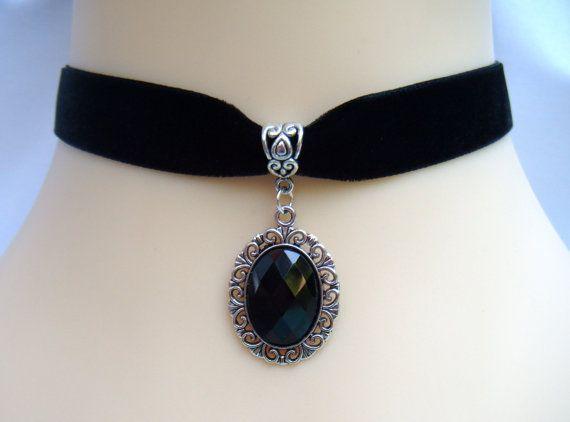 Terciopelo negro 16mm/gargantilla con cristal por VioletMists, £3.50
