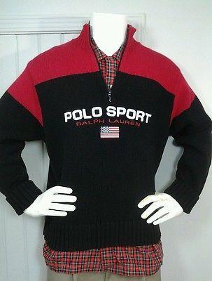 Vintage Polo Sport Ralph Lauren Knit Sweater Spellout  USA Flag 1/2 Zip Sz L