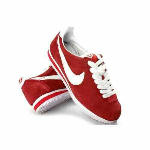 Nike Classic Cortez Nylon Womens and Mens Shoes Suede Red and White