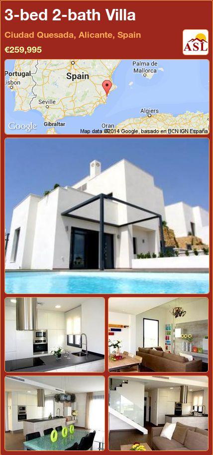 3-bed 2-bath Villa in Ciudad Quesada, Alicante, Spain ►€259,995 #PropertyForSaleInSpain
