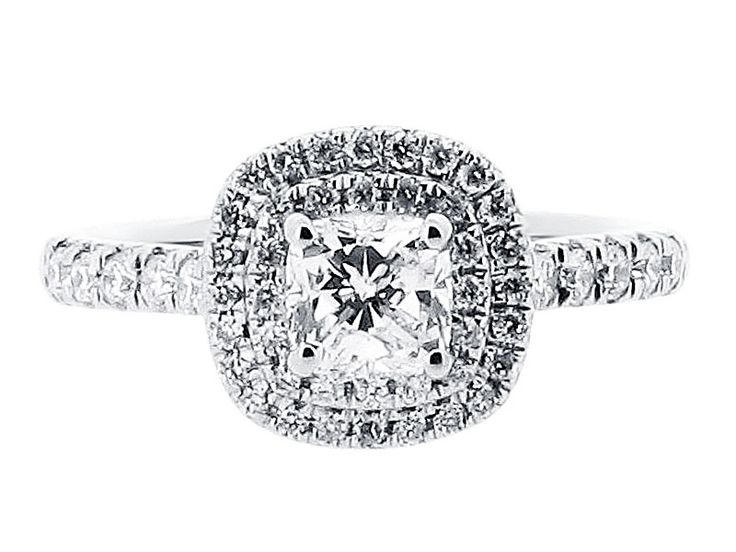 Cushion Double Halo with Matching Wedding Ring - ER 1513 - http://www.voltairediamonds.ie/product/cushion-double-halo-with-matching-wedding-ring-er-1513/