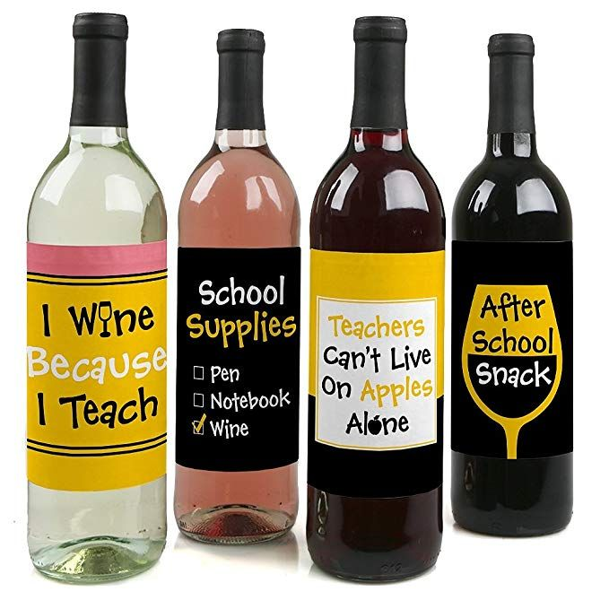 16 Hilarious Teacher Wine Glasses You Can Find On Amazon Wine Teacher Best Teacher Gifts Bottle Labels Stickers