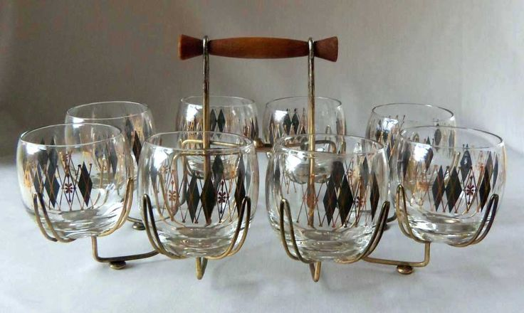bar glassware set mid century glass with serving caddy home 3