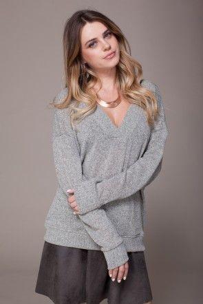 A Beautiful Grey V Sweater