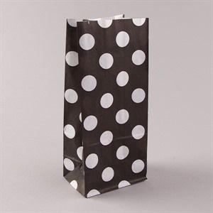 Blockbodenbeutel  Pick` n Mix weiß auf schwarz gepunktet