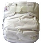 Happy Babes WHITE One Size Nappy is a Modern Cloth Nappy (MCN) that can be worn from birth to toilet training. The One Size Nappy has plastic snaps on the front of the nappy allowing the rise of the nappy to be adjusted as your baby grows from birth to toilet training. Pocket Nappies consist of a waterproof outer which is usually a polyurethane laminated polyester and a cotton micofibre lining that is extremely soft against the baby's skin.