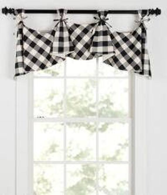 Buffalo Check Tab Flounce Valance Panel Or Pillow Curtains Living Room Living Room Decor Curtains Curtain Decor