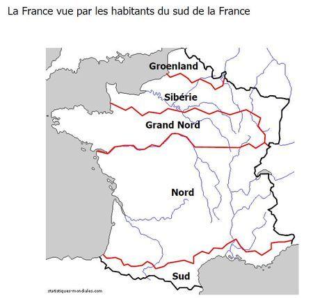 La France vue par les habitants du Sud de la France !! ;)  Les vraies cartes de la France - WikiStrike.com