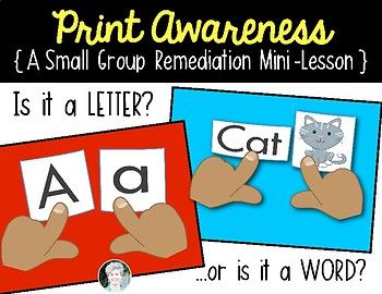 Print Awareness {Letter or Word} for Kindergarten & First Grade Remediation ELA. Game,  sorts and assessment tool. $