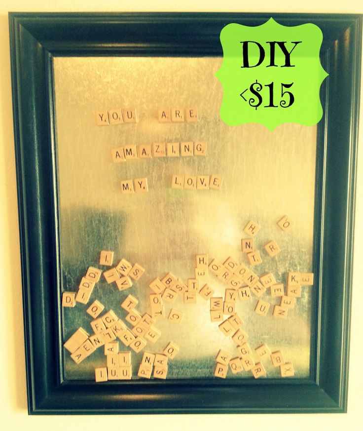 Scrabble Message Board -- find an old frame, paint it, get a sheet of metal cut-to-size at hardware store, add scrabble pieces with magnets. LOVE THIS SO MUCH