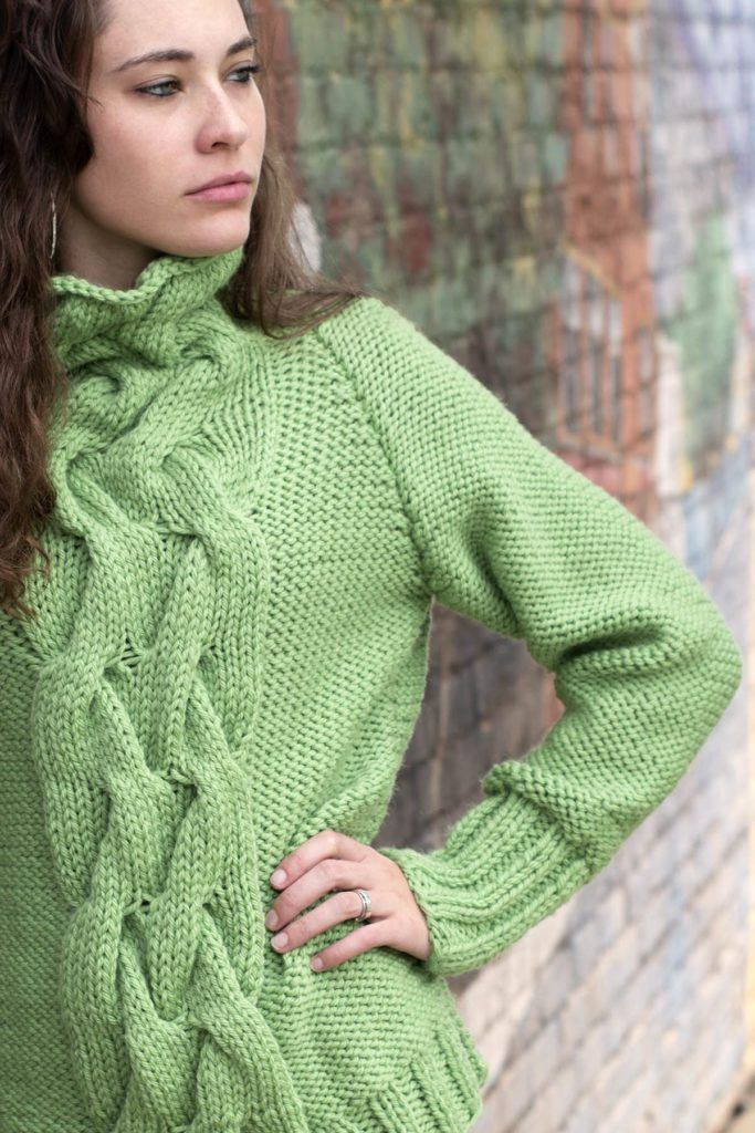 Free Knitting Pattern for a Cabled Raglan Cowl Neck ...