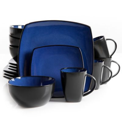 (not super sure on the black) Gibson Home Amalfi 16-Piece Dinnerware Set in Blue - BedBathandBeyond.com