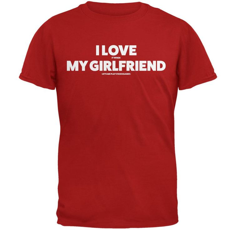 Valentines I Love My Girlfriend Video Games Red Adult T-Shirt