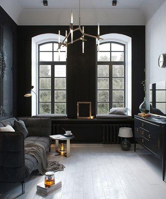 #blackinterior #livingroom   #blackwalls with ornate moldings. / sfgirlbybay