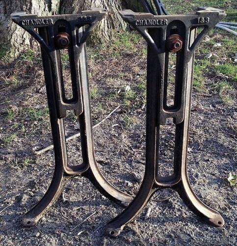 Vintage Machine Age Industrial Adjustable Cast Iron Table