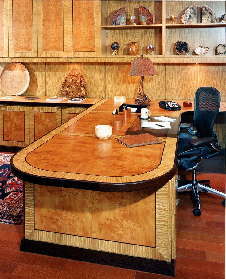 Office in Yen Wood, Satin Wood and Wenge with Brazilian Lacewood Veneer floor #yen #yenwood #wenge #veneer #woodveneer #lacewood #brazilianlacewood #bohlke