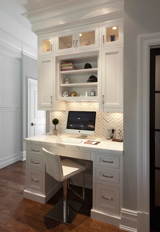 desk in kitchen transitional kitchen blue water home builders: kitchen cabinets home office transitional