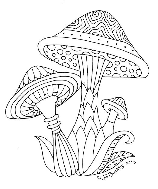 psychedelic mushroom coloring pages | 204 best Adult Colouring~Mushrooms ~ Toadstools ...