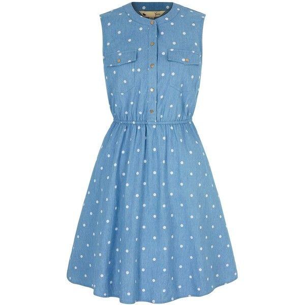 Yumi Polka Dot Print Denim Shirt Dress (€85) ❤ liked on Polyvore featuring dresses, blue, women, denim dress, denim shirt-dress, sleeveless shirt dress, sleeveless denim dress and blue knee length dress