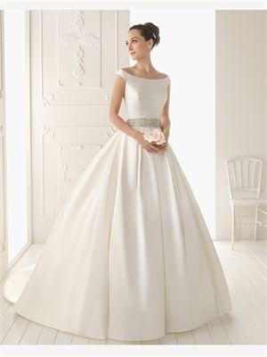 White Ball Gown Beading Satin 2014 Wedding Dress