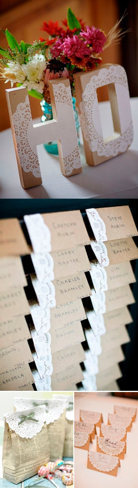 Ideas DIY para hacer con blondas / http://www.beautifulbluebrides.com
