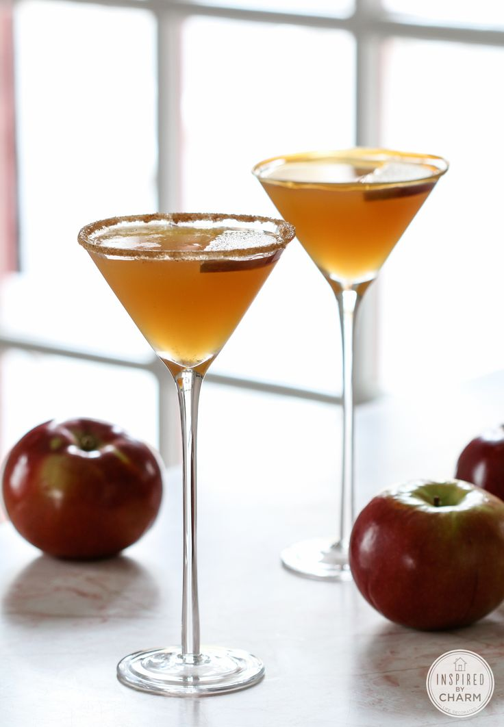 Caramel Apple Martini - Apple Cider, Caramel Vodka, Butterscotch Schnapps, Apple Slices, Caramel, and/or Cinnamon Sugar for garnish.