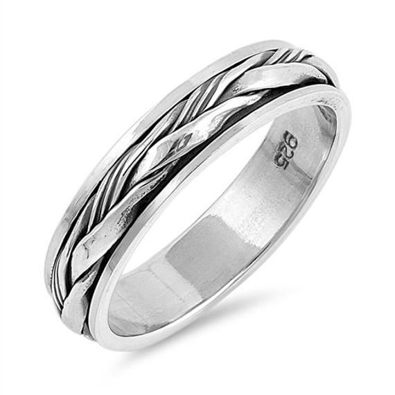 925 Sterling Silver Wedding Band Oxidized Finish Braided Spinner Ring(SNRP142795…   – Products